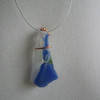 Copper banded blue-white pendant