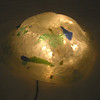 """Orb"" table light<br /> Recycled glass and LED lights<br /> 8"" x 8"" x 5"""