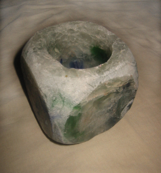 "Votive Pillar light- unlit<br /> (rounded cube design)<br /> 4 1/2"" x 4"" x 4""<br /> recycled glass"