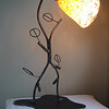 "Tulip Lamp<br /> Welded steel and blown glass<br /> 26"" x 14"" x 10"""