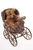 miniature teddy bear in Viictorian pram isolated on white background