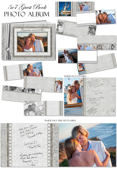 5x7 8x8 10x10 12x12  8 5x11 White Wedding guestbook