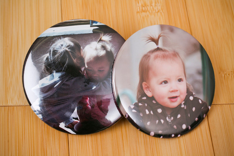 "Photo Button:  The perfect accessory for hand bags, backpacks, and wearing about town.  Metal back with pin and measure 3"" in diameter."