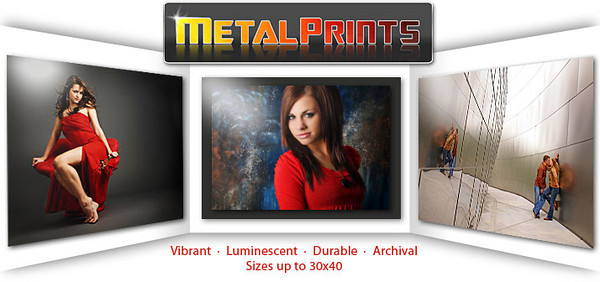 MetalPrints™<br /> <br /> MetalPrints™ represent a new art medium for preserving photos by infusing dyes directly into specially coated aluminum sheets. The high gloss coating takes on an almost magical luminescence. Because the image is infused into the surface and not on it, the archival qualities of this unique process are unparalleled. MetalPrints You've never seen a more brilliant impressive print before! Colors are vibrant and the luminescence is breathtaking. Detail and resolution are unsurpassed. To compliment this unique printing method, we have also developed a variety of ultra-modern ways to hang and display your Metal Prints.  <br /> 5x7       $ 35.00<br /> 8x10     $ 45.00<br /> 11x14   $ 75.00<br /> 10x20   $ 125.00<br /> Larger size up to 30x40