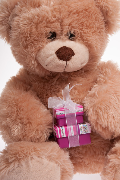 teddy bear with presents isolated on white background