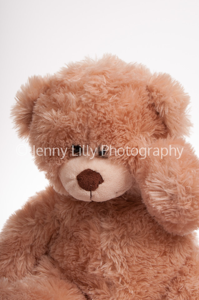 teddy bear with his hand on his head, isolated on white background