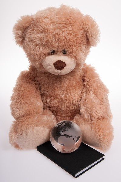 teddy bear with a black book and a globe, isolated on white background
