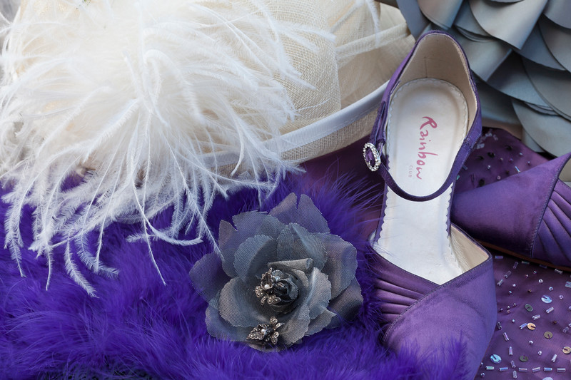 wedding accessories with purple theme