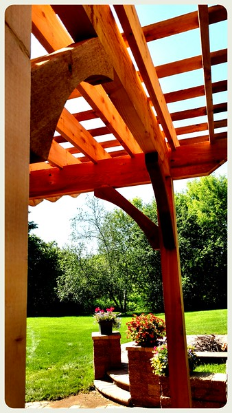 "Pergola with Rough Wood Brace 62T3 4"" Rough"