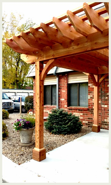 Pergola with Rough Wood Brace 71T3 4""