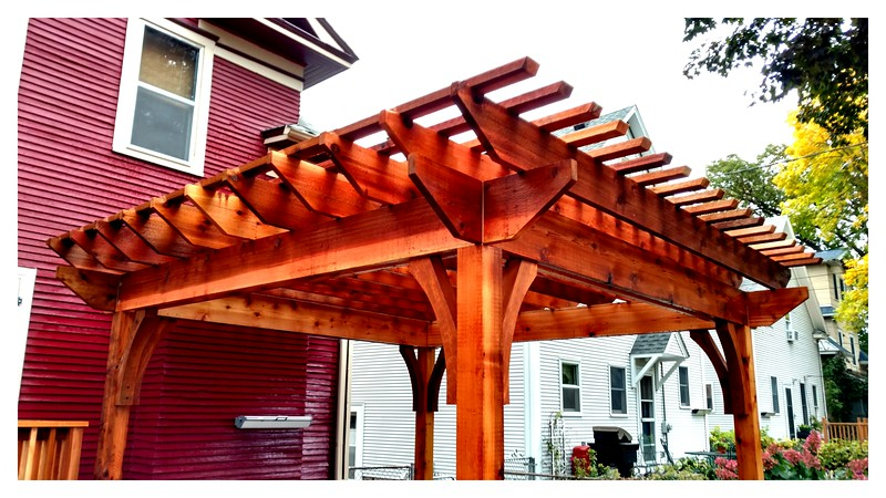 "Pergola with Wood Brace 62T8 4"" Rough"