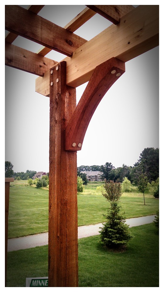 """Timber Pergola with Wood Brace 62T3 6"""" Rough"""