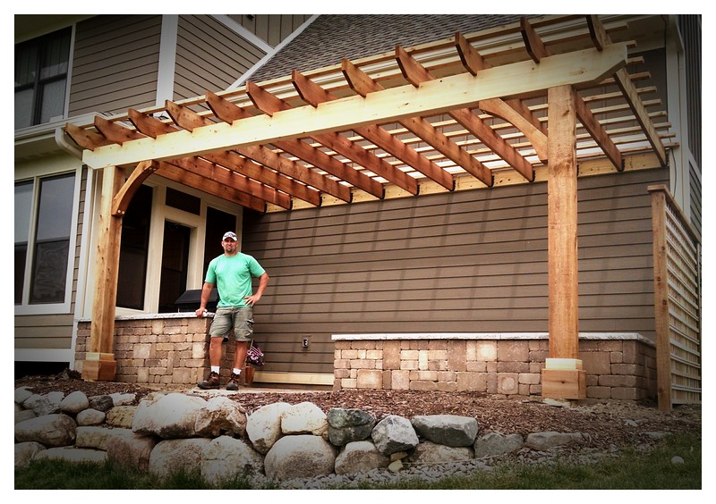 "Timber Pergola with Wood Brace 62T3 6"" Rough"