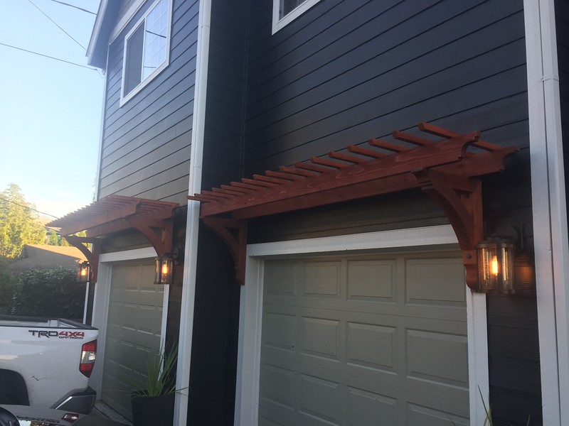 Garage door pergola with Custom Cedar Bracket 10T