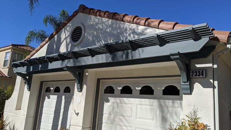Trellis over garage doors