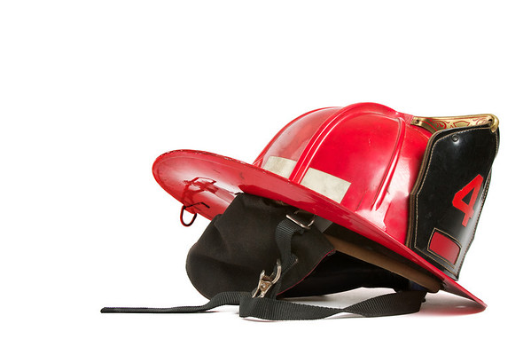 Vintage red fire fighters helmet