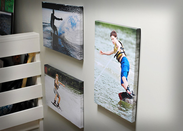 Gallery Wrapped Canvas...1 ½ in depth. Here is a collection hung on the wall going up the stairs in my home.