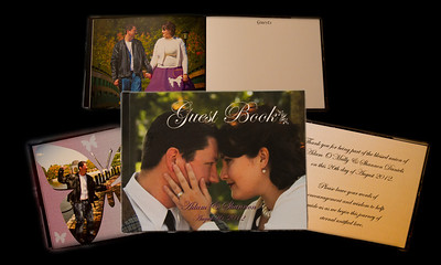 "Our custom designed guest books are color photowrapped with a hinged 8 1/2"" by 11"" hard cover that includes 16 full page photographs and sign in pages. *Other book sizes are available."