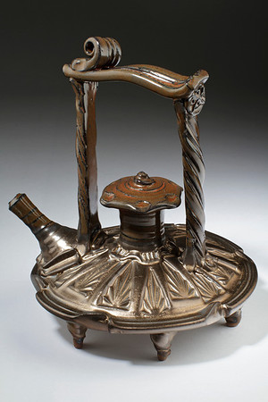 """Fool's Gold"" sculptural teapot by Wayne Cardinalli"