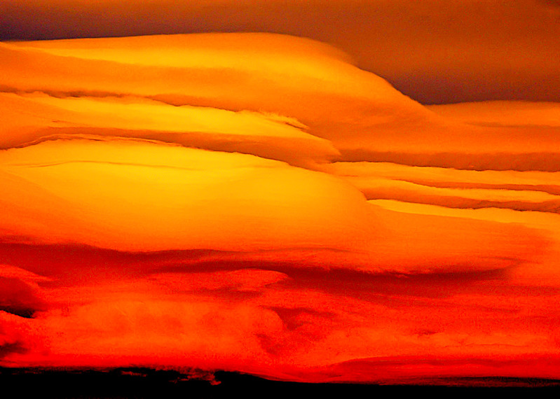 Orange and Red Wave Clouds, Sierra Nevada, CA