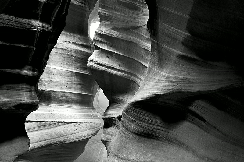 Corkscrew Black & White, Antelope Canyon, AZ