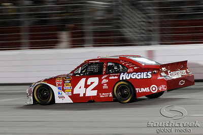Juan Pablo Montoya, driver of the # 42 Target Chevrolet, races down the front stretch at the Emory Healthcare 500 at Atlanta Motor Speedway in Hampton Georgia.