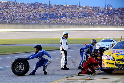 11 June 2010:  Nationwide Series driver Jeremy Clemons crew member chases a loose tire during a pit stop at the Meijer 300 at Kentucky Speedway in Sparta, Kentucky. Mandatory Credit: Marty Bingham/ Southcreek Global