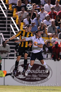 17 July 2010:  Charleston Battery midfielder Brandon Massie (21) cuts off a Bolton pass at Blackbaud Stadium in Charleston, South Carolina.  Final Score;  Bolton 2 - Charleston 0 Mandatory Credit: Marty Bingham / Southcreek Global
