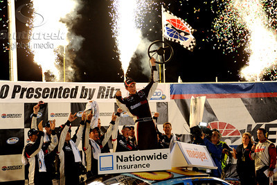 11 June 2010:  Nationwide Series driver Joey Logano in the  Sport Clips Toyota (20 ) celebrates the win at the Meijer 300 at Kentucky Speedway in Sparta, Kentucky. Mandatory Credit: Marty Bingham/ Southcreek Global