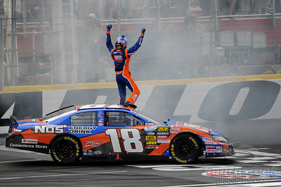 29 May 2010:   Kyle Busch celebrates with a burnout in the number 18 Combos Toyota after winning the NationwideTech-Net Auto Service 300,at Charlotte Motor Speedway in Concord, North Carolina. Mandatory Credit:Marty Bingham / Southcreek Global