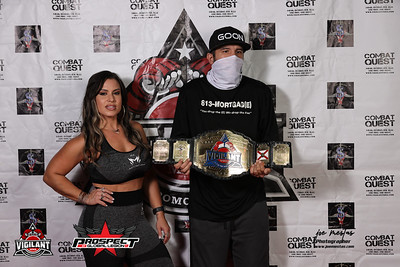 Mia Lanz and Brandon Lee   Combat Quest 9 Revenge Weigh in and Face Offs. The matches goes down Friday, August 14, 2020 at Banquet Masters  Brought to you by Vigilant MMA LLC and Prospect by Global Legion FC   Photos by: Joe Mestas www.joemestas.com email: onthegulf@gmail.com