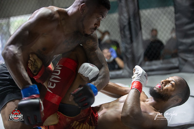 Nigel Gayle vs Marcellus Wallace (W)  $ecure Tha Bag at Largo's Minnreg Hall on July 11, 2020.  Combat Quest 8 featured 17  bouts consisting of boxing, San Shou Kickboxing, BJJ, CJJ & MMA. To include Title fights and defenses.  Brandon Lee of Vigilant MMA put on an excellent card. Seating was set appropriately for Social Distancing and everyone was required to wear masks.  Photos by: Joe Mestas www.joemestas.com Available for Promo, events, sports, and photo shoots