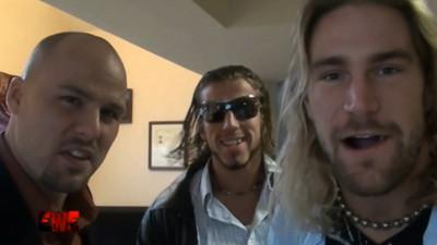 Chris Hero, Adam Pierce & Rhett Titus attack Lance Lude at EWE on 10/17/2009 - Fishersville, Virginia