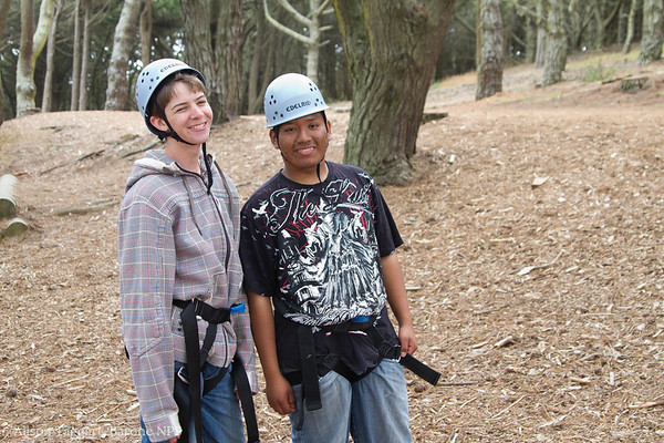 Linc students at Ropes course