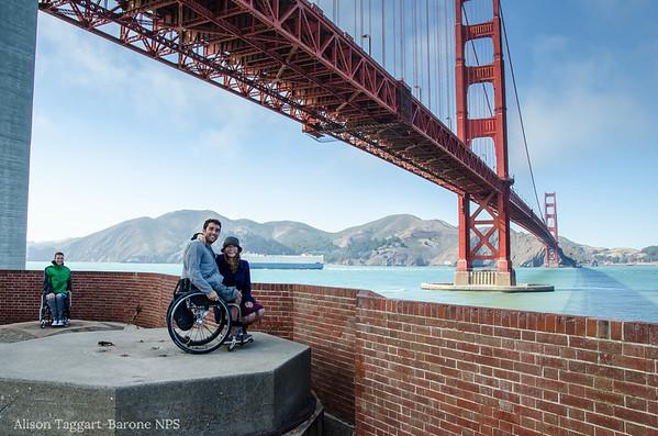 Fort Point wheelchairs under Golden Gate Bridge