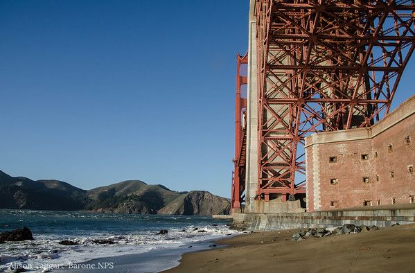 Fort Point and Golden Gate Bridge, from the west side
