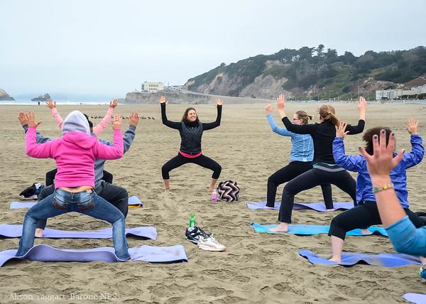 Yoga on Ocean Beach