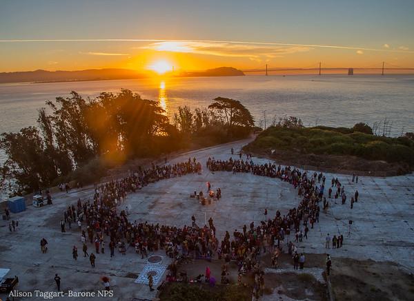 Alcatraz dawn ceremony, un-Columbus day 2014
