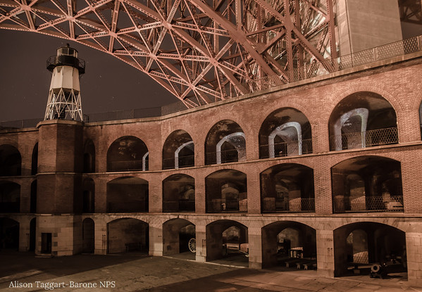 Fort Point and Golden Gate Bridge at night. Photo by Alison Taggart-Barone NPS