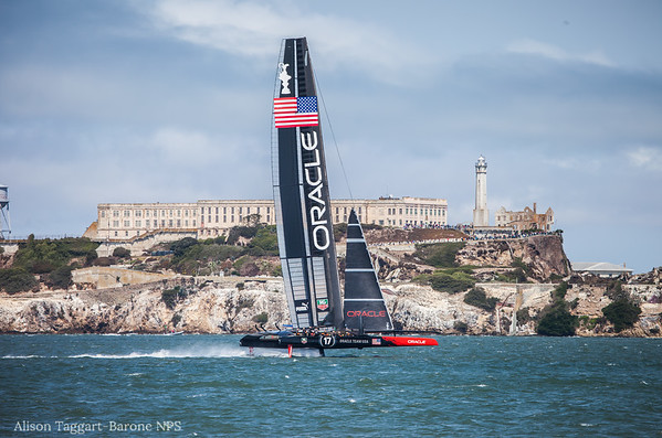 America's Cup boat and Alcatraz, from Crissy Field. Photo by Alison Taggart-Barone NPS