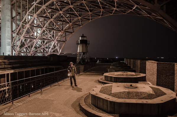 NPS Ranger, Fort Point at Night. Photo by Alison Taggart-Barone NPS