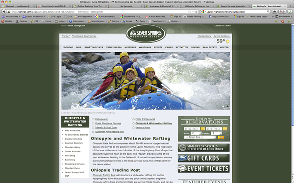 2012 Seven Springs marketing partnership with Ohiopyle Trading Post and River Tours.