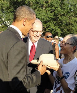 "Obama with Yoshiko Dart, widow of access advocate Justin Dart, ""father of the ADA"""