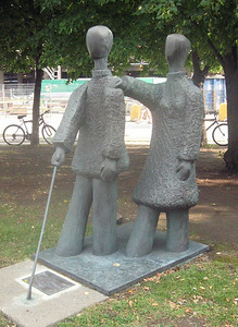 "In Montreal -- ""Vers La Lumiere"" by Andre Turpin, outside the Institute Nazareth and Louis Braille, a major Canadian service organization for the blind"