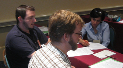 ADP registrants Thom Lohman (DCMP), Jeremy Fisher (Caption Max) and Sonali Rai (RNIB-U.K.).
