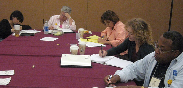 ACB's Audio Description Institute--trainees work on writing description for a film excerpt.