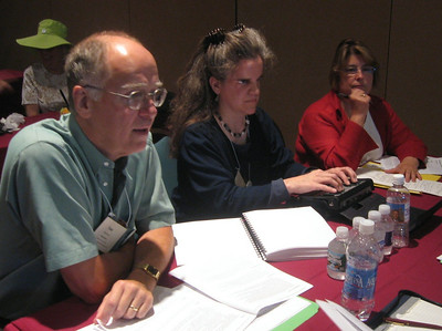 ADP registrants Fred Brack (ADP/ADI webmaster/Arts Access of North Carolina), Lisa Helen Hoffman (Geva Theatre) and Deborah Lewis (Audio Description Coalition).