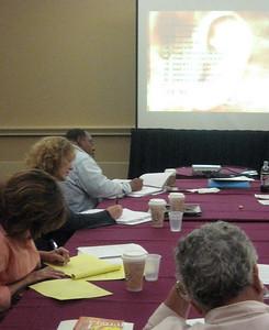 ACB's Audio Description Institute--trainees work on writing description for a film excerpt.