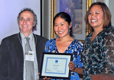 06-CPF Continuing Student Scholarship. Alex Hinds (juror), Lisa Chen (UC Berkeley), Virginia Viado (Chapter Board)