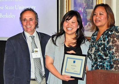 07-CPF Graduating Student Merit Award. Alex Hinds (juror), Taryn Hanano (San José State University), Virginia Viado (Chapter Board)